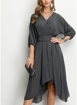 Polyester With Crumple/Solid Knee Length Dress