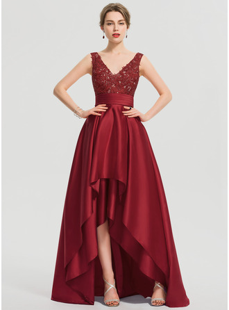 V-neck Asymmetrical Satin Prom Dresses With Ruffle Sequins