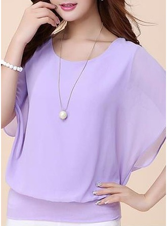 Plain Short Sleeves Chiffon Round Neck Casual Blouses Bluzlar