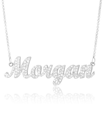 Custom Sterling Silver Plate Name Necklace With Diamond