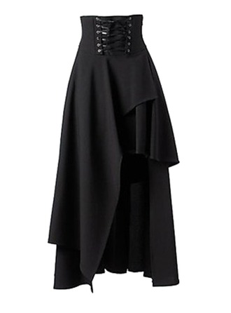 A-Line Skirts Maxi Plain Polyester Skirts