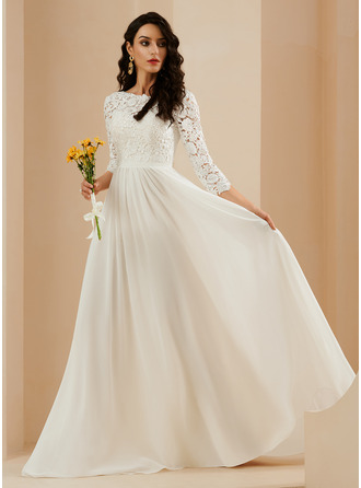 A-Line Sweep Train Wedding Dress With Lace