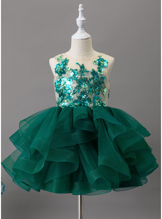 Ball-Gown/Princess Knee-length Flower Girl Dress - Tulle Lace Sequined Sleeveless Scoop Neck