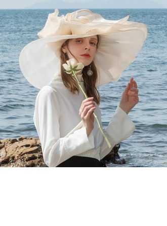 Ladies' Colorful Organza With Feather Floppy Hats/Kentucky Derby Hats
