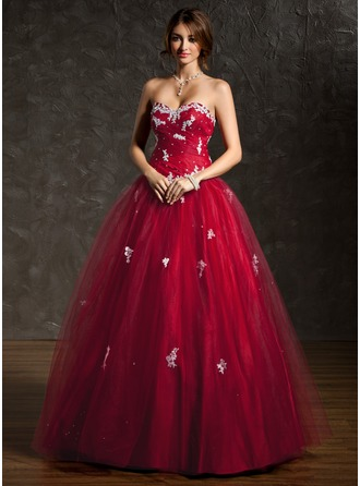 Ball-Gown Sweetheart Floor-Length Tulle Prom Dress With Ruffle Beading Appliques Lace Sequins