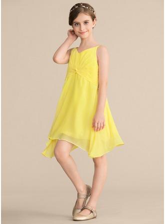 V-neck Knee-Length Chiffon Junior Bridesmaid Dress With Ruffle