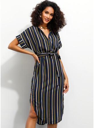 Polyester With Print/Slit Knee Length Dress