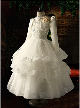 Ball Gown Floor-length Flower Girl Dress - Organza/Satin/Tulle Long Sleeves Stand Collar With Beading/Appliques