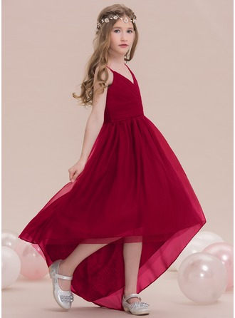 V-neck Asymmetrical Tulle Junior Bridesmaid Dress With Ruffle