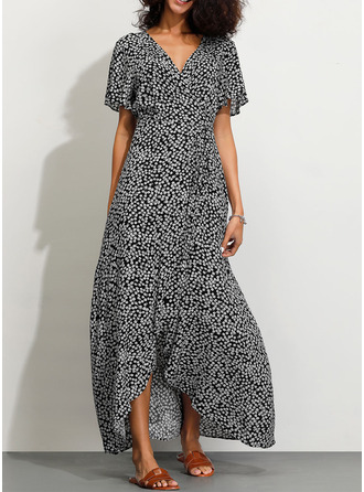 Cotton Blends With Print Asymmetrical Dress