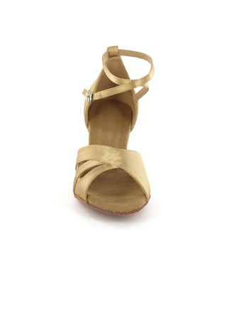 Women's Satin Heels Latin Party With Ankle Strap Dance Shoes