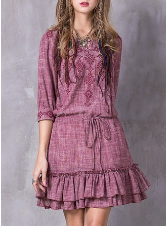 Linen With Lace/Embroidery/Ruffles Knee Length Dress