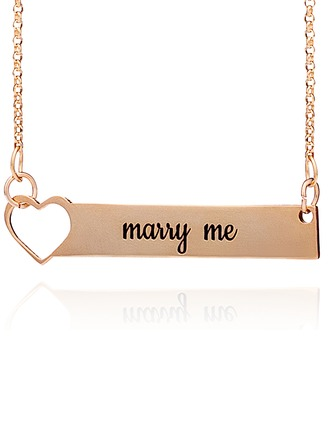 Custom 18k Rose Gold Plated Silver Bar Heart Necklace Engraved Necklace