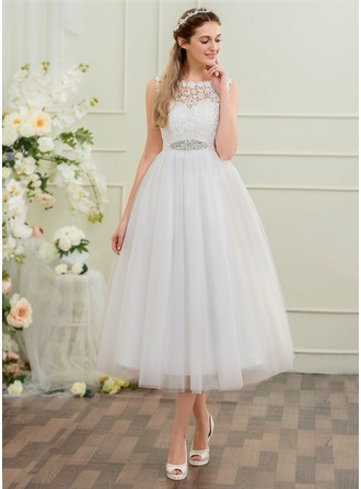 A-Line/Princess Scoop Neck Tea-Length Tulle Wedding Dress With Beading Sequins