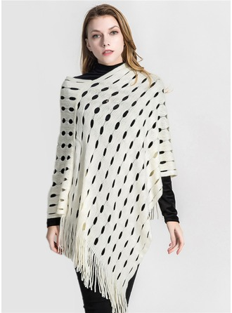 Solid Color Oversized/fashion Acrylic/Artificial Wool Poncho