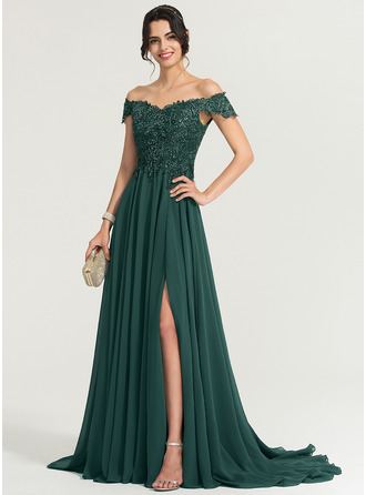 A-Line/Princess Off-the-Shoulder Sweep Train Chiffon Prom Dresses With Sequins Split Front
