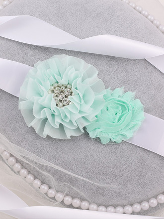 Flower Girl Polyester Sash With Flower/Imitation Pearls
