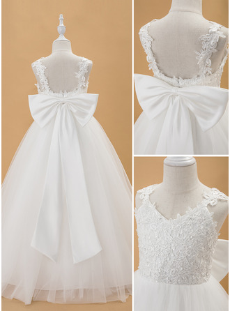 Ball-Gown/Princess Floor-Length Flower Girl Dress - Tulle Lace Tulle Sleeveless V-neck With Beading Bow(s)