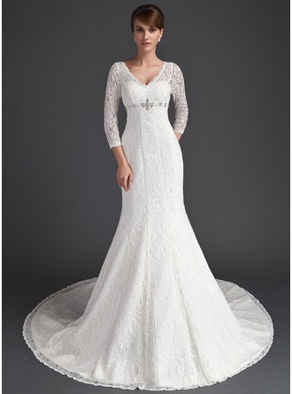 Trumpet/Mermaid V-neck Chapel Train Lace Wedding Dress With Beading