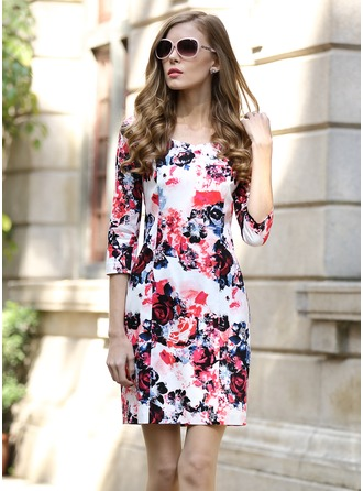 Polyester/Poplin With Print Above Knee Dress