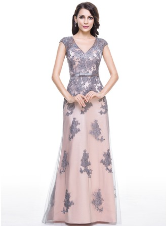 Trumpet/Mermaid V-neck Floor-Length Tulle Evening Dress With Beading Appliques Lace Sequins Bow(s)