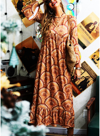 Print A-line V-Neck Long Sleeves Flare Sleeve Maxi Boho Vacation Skater Dresses