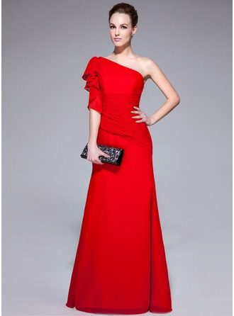 Trumpet/Mermaid One-Shoulder Floor-Length Chiffon Evening Dress With Cascading Ruffles