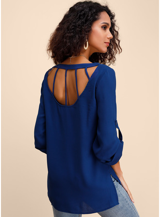 Long Sleeves Chiffon Round Neck ()
