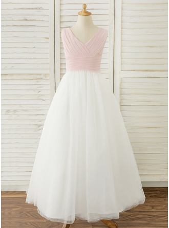 Floor-length Flower Girl Dress - Chiffon Tulle Sleeveless V-neck With Pleated