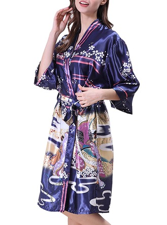 Bride Bridesmaid charmeuse With Knee-Length Floral Robes