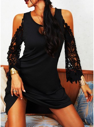 Lace Solid Shift Round Neck Long Sleeves Cold Shoulder Sleeve Midi Casual Little Black Vacation Tunic Dresses