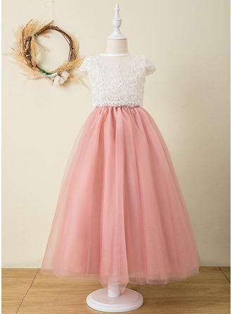 Ball-Gown/Princess Ankle-length Flower Girl Dress - Tulle Lace Short Sleeves Scoop Neck