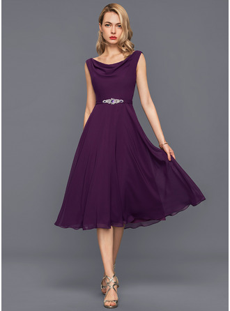 Cowl Neck Knee-Length Chiffon Cocktail Dress