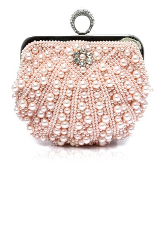Pearl Style Polyester/Imitation Pearl Clutches