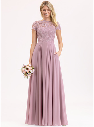 Scoop Neck Floor-Length Chiffon Lace Prom Dresses With Pockets