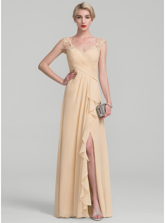 Floor-Length Chiffon Lace Mother of the Bride Dress With Split Front Cascading Ruffles