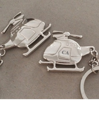 Personalized Helicopter shaped Stainless Steel/Zinc Alloy Keychains  (5 letters or less)