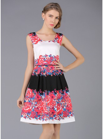 Polyester/Cotton With Print Above Knee Dress