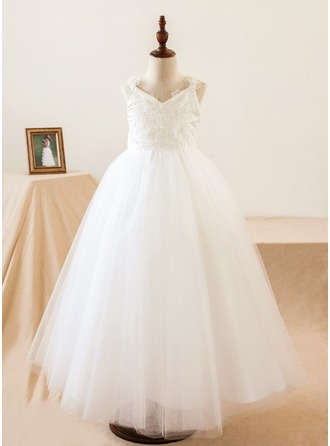 A-Line/Princess Tea-length Flower Girl Dress - Tulle Sleeveless V-neck With Flower(s)/Bow(s)