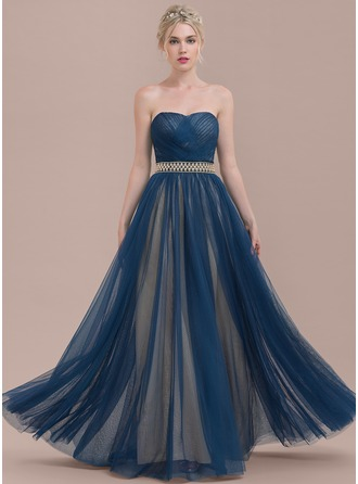 A-Line/Princess Sweetheart Floor-Length Tulle Bridesmaid Dress With Ruffle Beading