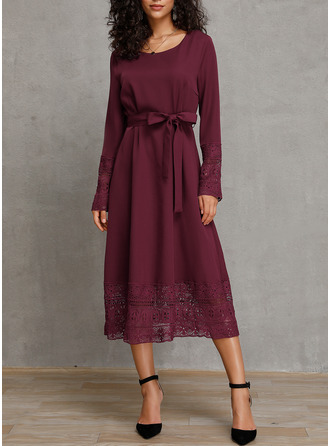 Polyester With Lace/Solid Midi Dress