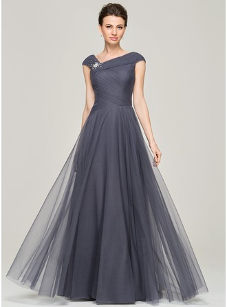 V-neck Floor-Length Tulle Mother of the Bride Dress With Ruffle Beading Sequins
