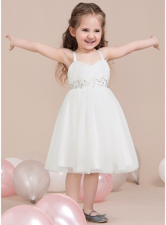A-Line/Princess Sweetheart Knee-Length Tulle Junior Bridesmaid Dress With Ruffle Beading
