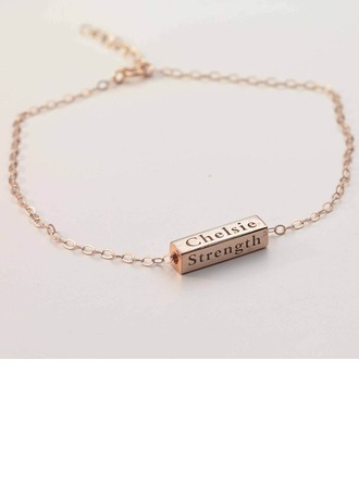 Personalized Ladies' Fancy Rose Gold Plated With Tube Engraved Bracelets Bracelets For Bride/For Bridesmaid/For Friends