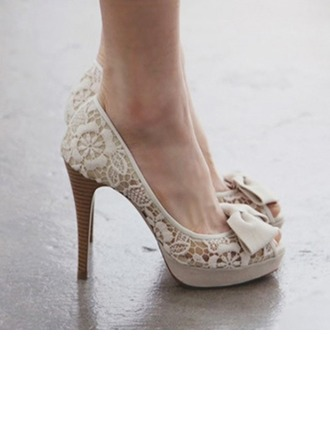 Women's Lace Stiletto Heel Peep Toe Platform Beach Wedding Shoes With Bowknot