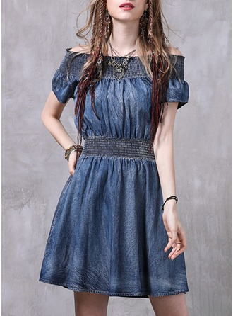 Denim With Crumple/Ruffles Above Knee Dress