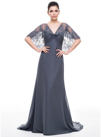 Trumpet/Mermaid V-neck Sweep Train Chiffon Lace Mother of the Bride Dress With Ruffle Beading