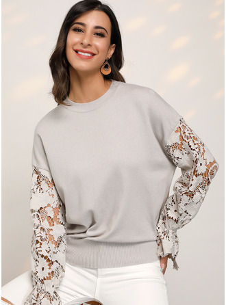 Long Sleeves Polyester Round Neck Plést Halenky