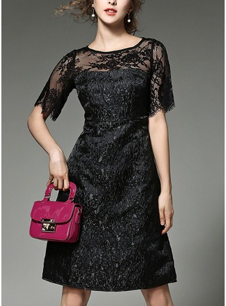 Lace With Lace/Embroidery/See-through Look Knee Length Dress