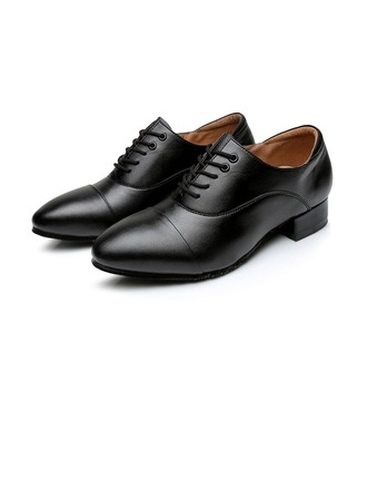 Men's Real Leather Flats Latin Modern Ballroom Party With Lace-up Dance Shoes
